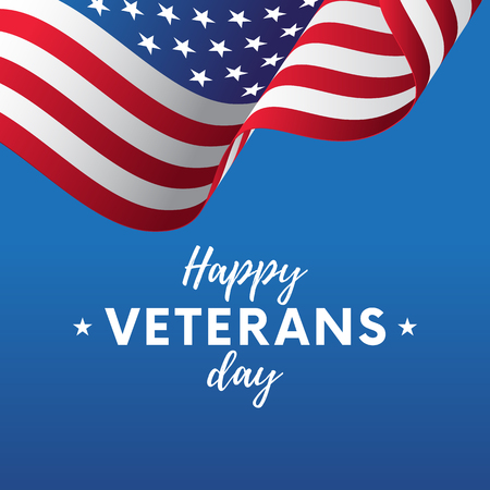 USA flag  illustration with Happy Veterans Day lettering. November 11. Celebration poster with stars and stripes. Greeting card.  illustration.