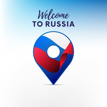 shiny buttons: Flag of Russia in shape of map. Welcome to Russia. Vector illustration. Illustration