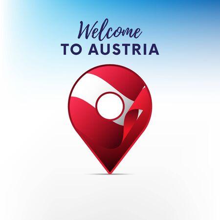 Flag of Austria in shape of map. Pointer or marker. Welcome to Austria. Vector illustration. Ilustração