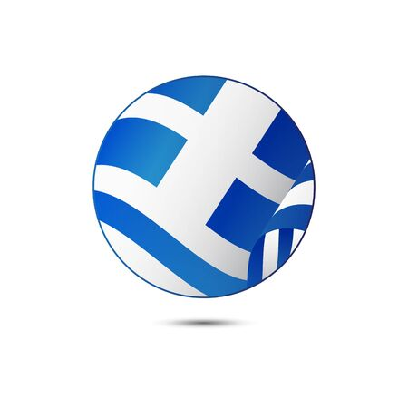Greece flag button on a white background.  illustration. Illustration