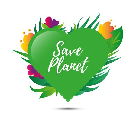 Heart with plants and flowers. Earth day. Save planet