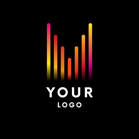 Music equalizer logo on black background. Vector illustration, Graphic Design Editable For Your Design. Logo Symbol.