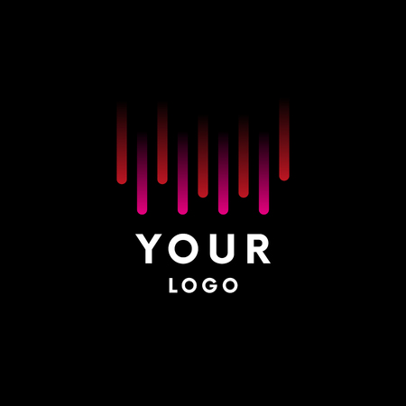 Logo with pink and red gradient lines on black background. Vector illustration, Graphic Design. Logo Symbol.