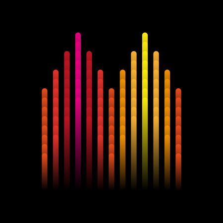 electronic music: Illustration of colorful musical bar showing volume. Colorful music equalizer sound waves. Vector illustration, Graphic Design Editable For Your Design.