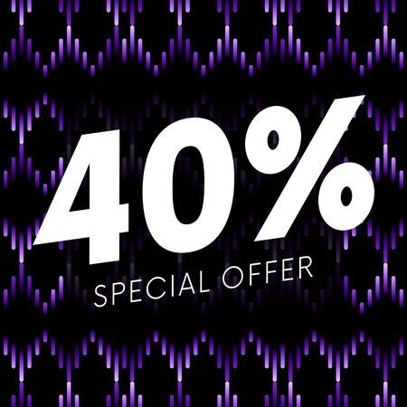 Special offer forty percent text banner on musical dark background. Vector illustration. Illustration