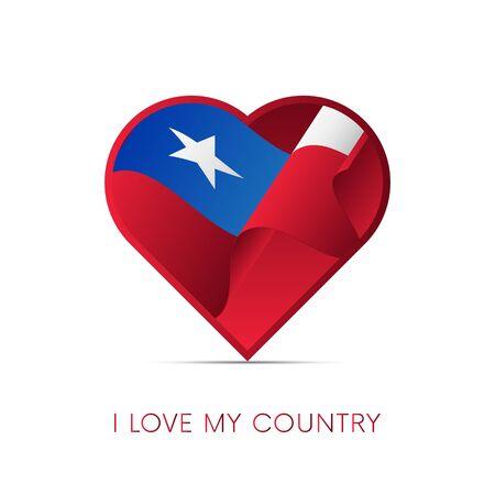 Bandera de Chile en el corazón. Amo mi país. Firmar. Ilustración del vector. Vectores
