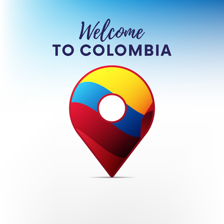 Flag of Colombia in shape of map. Welcome to Colombia. Vector illustration.
