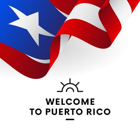 Welkom in Puerto Rico. Vlag van Puerto Rico. Patriottisch ontwerp. Vector illustratie.
