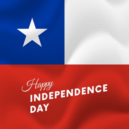 bandera chilena: Banner o póster de Chile. Bandera ondeante. Ilustración del vector.