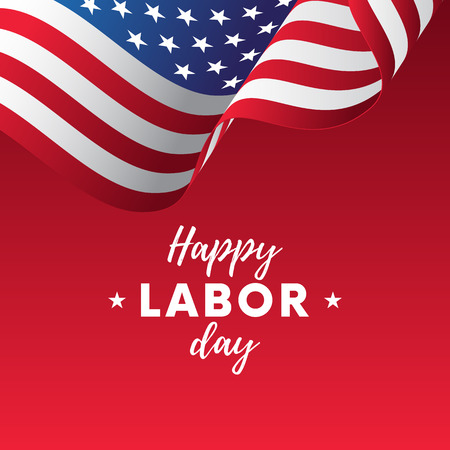 Happy Labor Day. Red gradient background. Waving flag. Vector illustration.