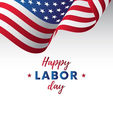 Happy Labor Day. White background. Waving flag. Vector illustration.