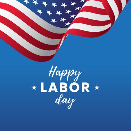 Happy Labor Day. Blue gradient background. Waving flag. Vector illustration.