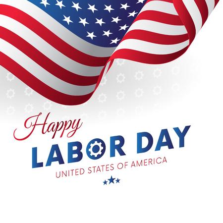 Glücklicher Werktag . Weißer Hintergrund . Gänge Hintergrund . Waving Flag . Vektor-Illustration