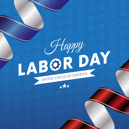 Happy Labor Day. Blue gradient background. Waving flag. Red and blue gradient ribbons. Gears background. Vector illustration.