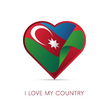 Azerbaijan flag in heart. I love my country. Sign. Vector illustration.