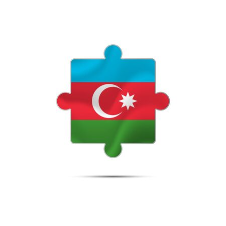 Isolated piece of puzzle with the Azerbaijan flag. Vector illustration.
