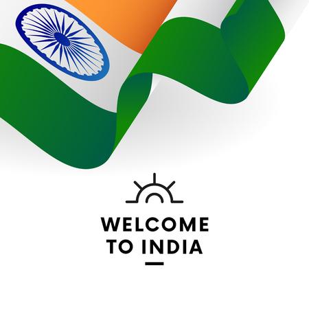 Welcome to India. India flag. Patriotic design. Vector illustration.