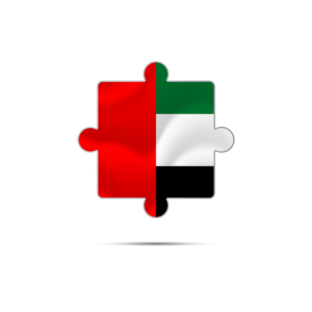 Isolated piece of puzzle with the United Arab Emirates flag. UAE. Vector illustration.