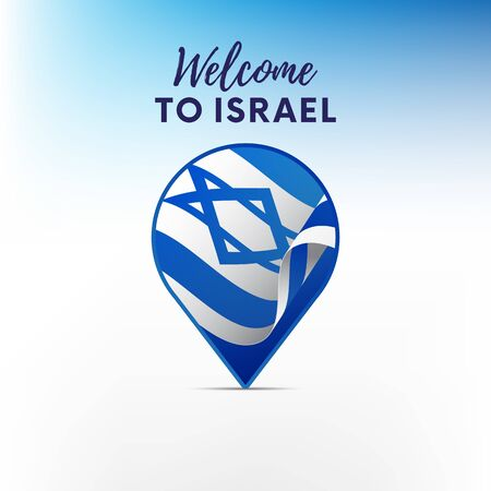 Flag of Israel in shape of the map. Pointer or marker. Welcome to Israel. Vector illustration.