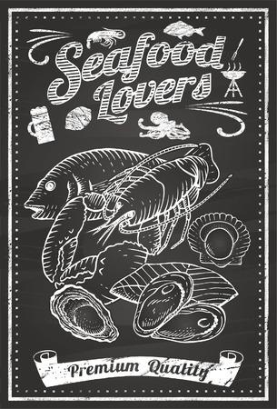 pescados y mariscos: Mariscos amantes pizarra Vectores