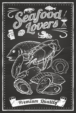 Seafood Lovers Chalkboard Vector
