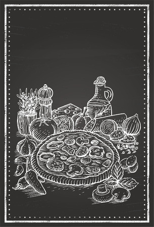 xilografia: Pizza pizarra Vectores