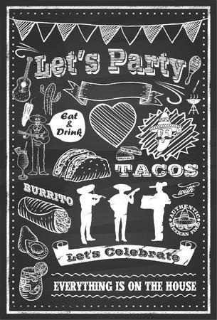 spanish food: Mexico Icons Chalkboard Illustration