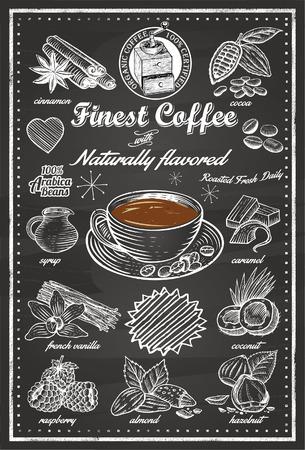 chicchi caff� su sfondo bianco: Disegnato a mano di Cafe Articoli Vettoriali