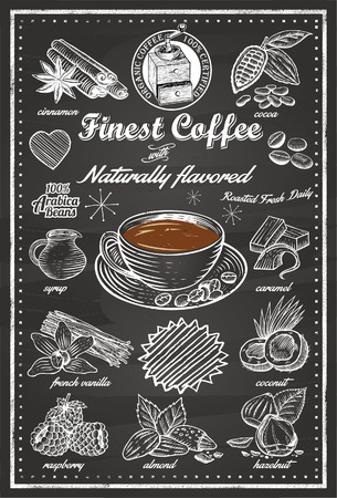 cocoa fruit: Hand Drawn of Cafe Items Illustration