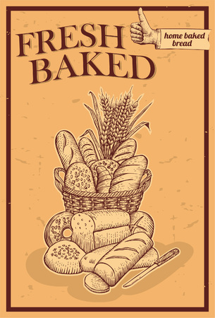 bakery sign: Hand drawn of bread in basket