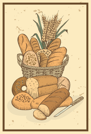 Hand drawn of assortment of bread Vector
