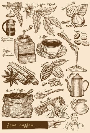 Colección de artículos cafe Vectores