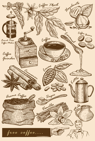 scratchboard: Collection of cafe items