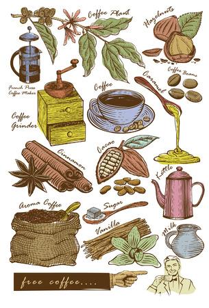 schneiden: Satz von Hand gezeichneten Kaffee Artikel Illustration