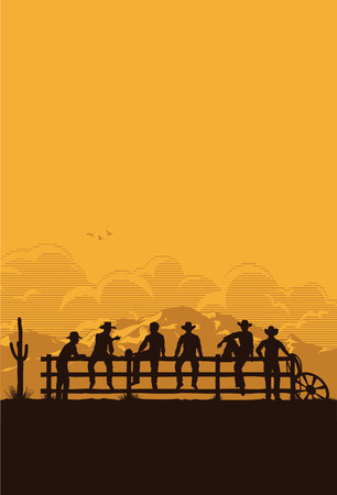 rodeo americano: Vaqueros que se sientan en la cerca