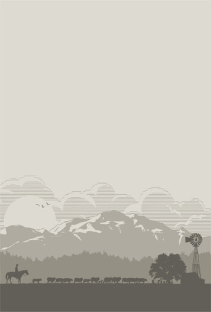 Sheep farm scenery, vector 向量圖像