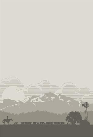 Sheep farm scenery, vector Illustration