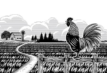 木版画のスタイル、米が下に鳴くオンドリ
