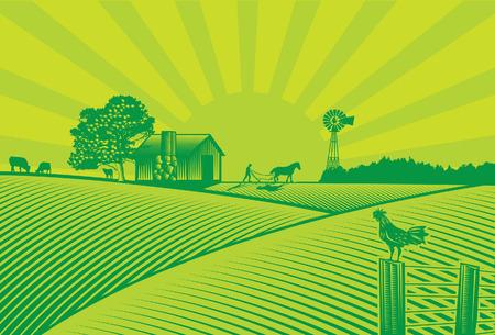 granja: Silueta agricultura ecológica en estilo de grabado
