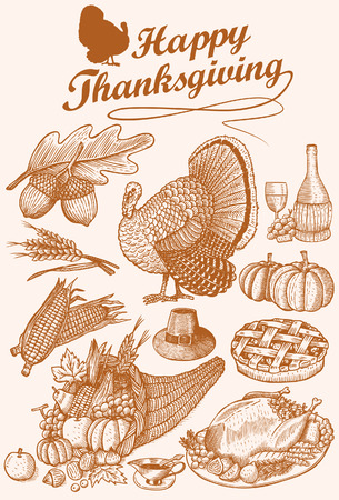 Hand Drawn of Thanksgiving Day Icons Vector