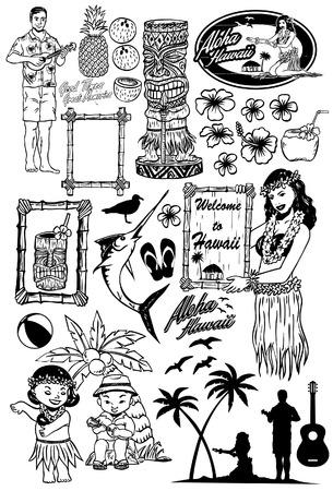 レトロなハワイのアイコン  イラスト・ベクター素材