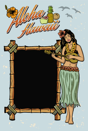Hula girl playing ukulele sign Vector