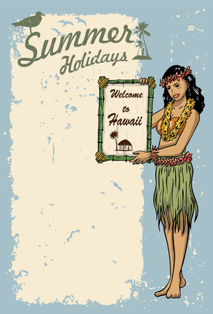Hula girl holding sign Illustration