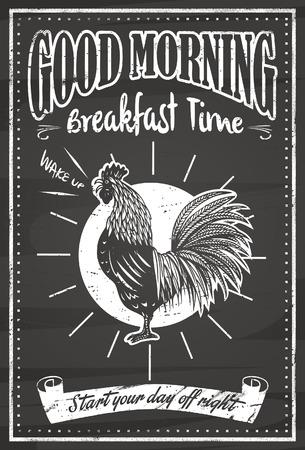 prima colazione: Vintage buona lavagna mattina