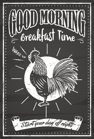 crowing: Vintage good morning blackboard Illustration