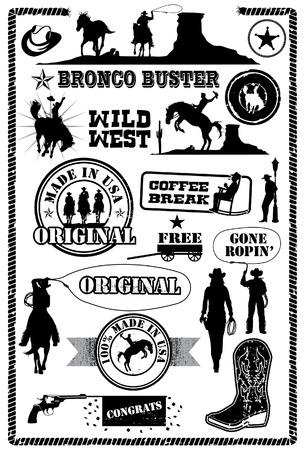 Cowboy icons, vector