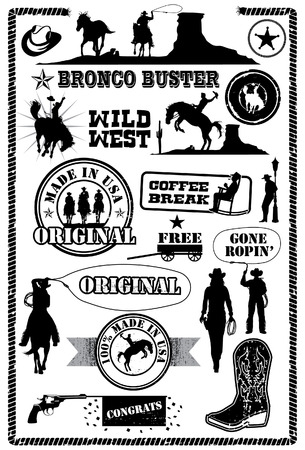 rodeo americano: Iconos vaquero, vector