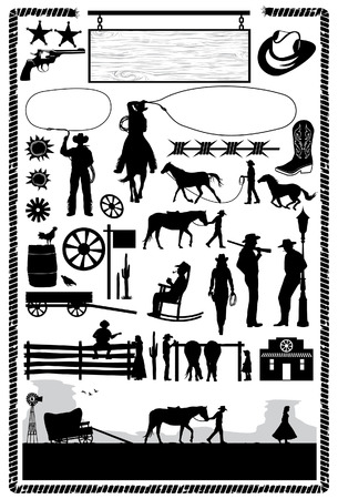 wild wild west: Cowboys e icone selvaggio west, vettore Vettoriali