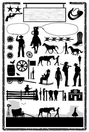 Cowboys y los iconos del salvaje oeste, vector