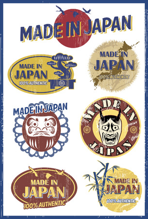 Set of vintage Japanese labels, vector